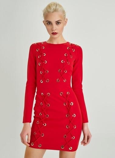 People By Fabrika Bağcık Detaylı Elbise Kırmızı
